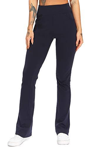 FITTOO Pantalones De Yoga Sueltos Cintura Alta Mujer Pantalones Largos Suaves Cómodos Azul Oscuro XL