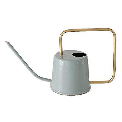 CasaJame Moderna regadera decorativa de metal esmaltado gris y dorado brillante, 39,5 x 23 x 15 cm, 1,6 litros