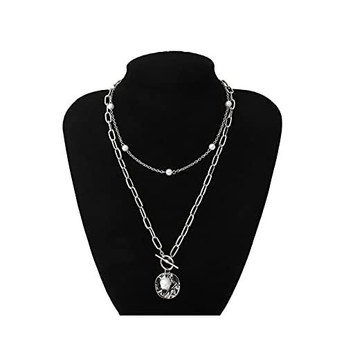 RXDZ Punk múltiples Capas Perlas gargantillas Collar Collar declaración Moneda Cristal Colgante Collar Mujer joyería (Color : Silver Color)