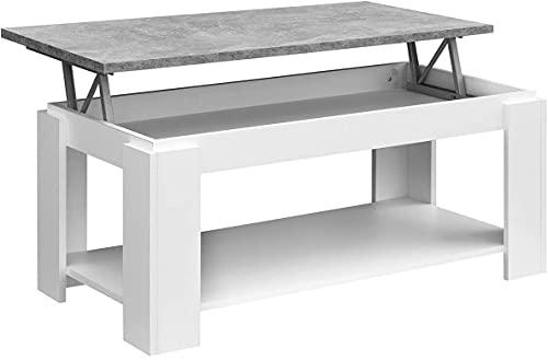 COMIFORT Table Basse relevable Porte-revues, Grand Rangement, Style Moderne, très Robuste, fabriqué en Europe, Couleur Blanc Stone
