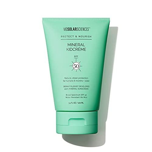 MDSolarSciences Protector solar mineral KidCrème SPF 50 - Fórmula suave y sin aroma que se aplica rápidamente y protege la piel con óxido de zinc - Resistente al agua - 3.4 Fl Oz / 100 ml