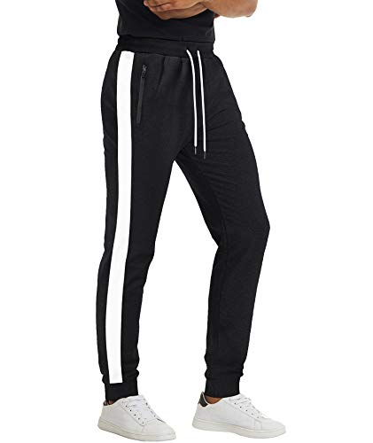 MAGCOMSEN Herren Jogginghose Atmungsaktiv Fitness Hosen Lang Trainingshose für Herren Gym Sommerhose Elastische Taille Leicht Sporthose mit Taschen Schwarz, 32