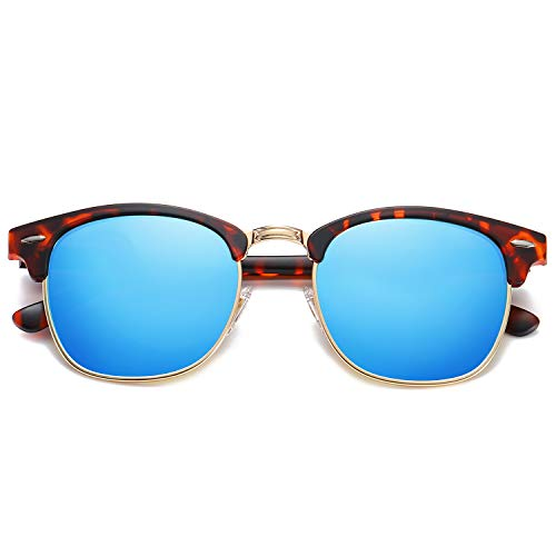 SOJOS Damen Herren Sonnenbrille Polarisiert UVprotect Optik Retro Vintage Horn Gestell Halbrahmen SJ5018 mit Schildkröten Rahmen/Dunkelblaue Polarisierte Linse