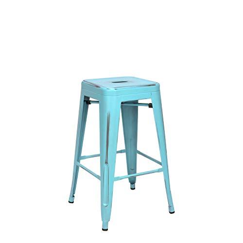 Vaukura Taburete Medio Oliix Vintage - Taburete Industrial Medio Tolix (Azul)