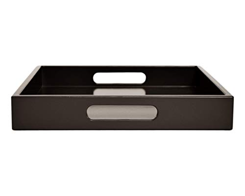 Dark Brown Ottoman Coffee Table Serving Tray with Handles Medium to Extra Large Oversize