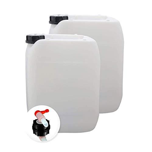 S-Pro Wasserkanister Trinkwasser mit Hahn, Lebensmittelecht, 2 x 10l für Haus, Garten und Camping Wasserbehälter, leer