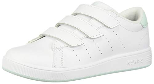 K-Swiss Baby Clean Court 3-Strap Sneaker, White/Soothing Sea, 2 M US Infant