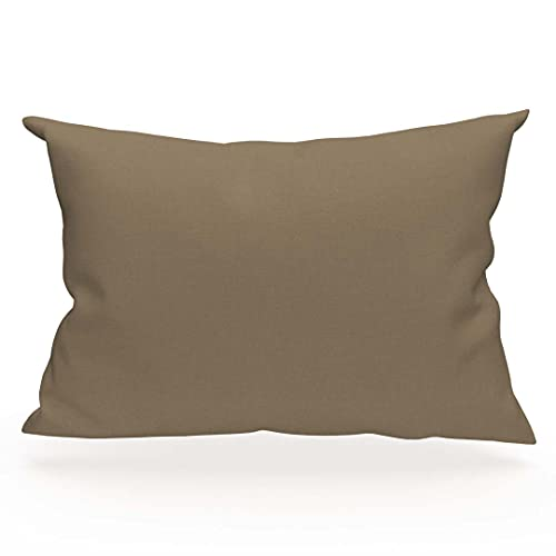 Funda de almohada americana lisa de algodón 57 hilos 50x75 cm beige SOLEIL D