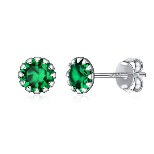Tiny Birthstone Earrings For Girls May Sterling Silver Earring Studs Jewelry with Simulated Emerald Royal Green Stones
