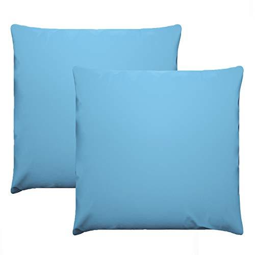 eletecpro Kissenbezuge 80x80cm 2er Set, 100% Mikrofaser Kopfkissenbezüge mit Hotelverschluß, Hypoallergen Kissenhülle Blau Super weich, Farbechte,Hautfreundlich, in großer Farbauswahl
