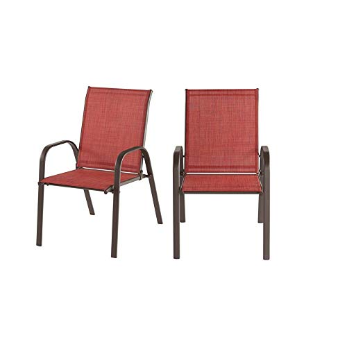 StyleWell Mix and Match Brown Steel Sling Outdoor Patio Dining Chair in Chili Red (2-Pack)