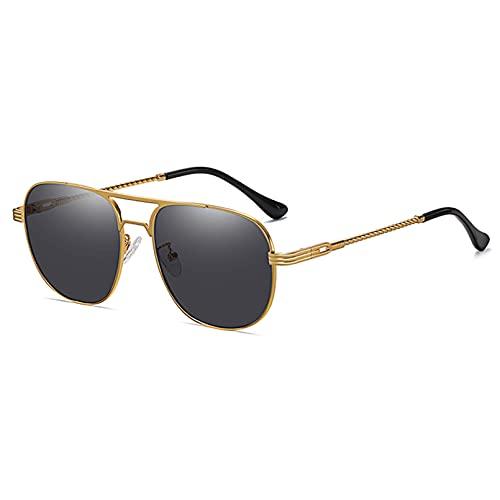 Tanxianlu Gafas de Sol de Metal para Mujer, cuadradas, Uv400, con Doble Puente, Gafas de Montura Grande para Hombres, Estilo Veraniego, 1