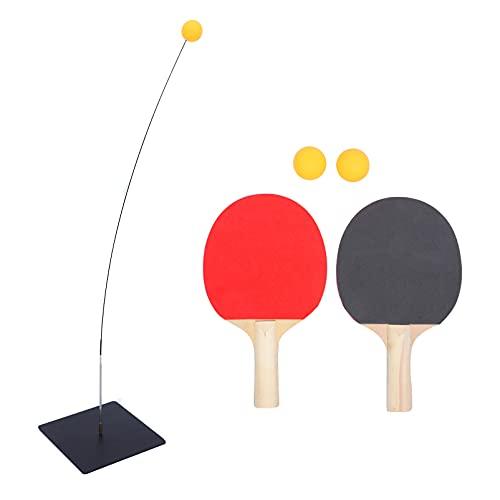 SOIMISS Table De Tennis Formateur Ensemble Élastique Arbre- Pong Balles Palettes Fixées Pratique De Sport De Décompression Kit de Formation pour Adultes Enfants Et Chat Teaser