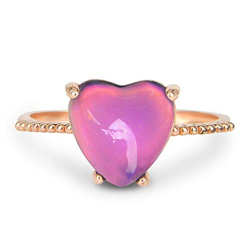 Fun Jewels Minimalist Rose Gold Heart Mood Ring Crystal Color Change Stone Size Adjustable for Women Girls