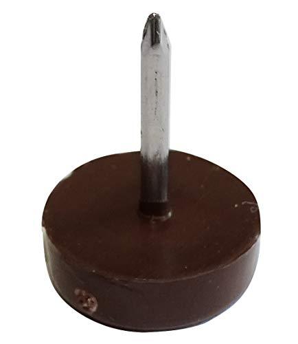 AERZETIX: 100x Patín con clavo Ø15mm redondo de plástico (Marrón)