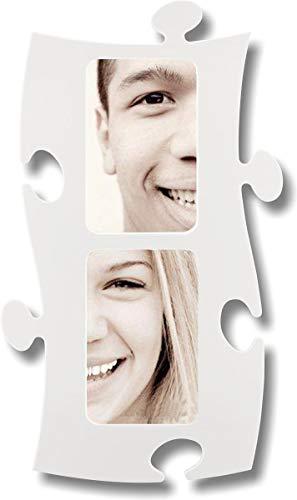 Puzzle Rahmen, 2 mal 10x15cm - weiß