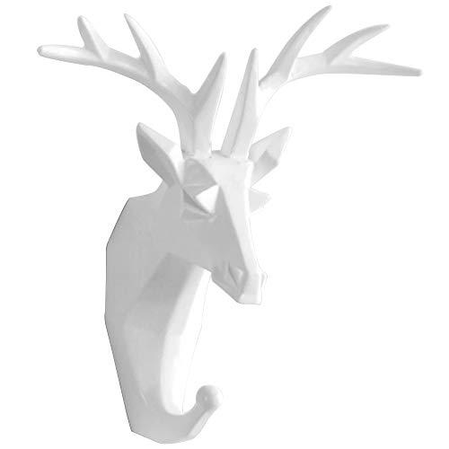 TZAMLI Wandhaken Hirsch Tier Harz Kleiderhaken Ohne Bohren, Handtuchhaken Wand Deko Tür Haken Aufbewahrung Ordnen Handtuch Kleidung, Weiß