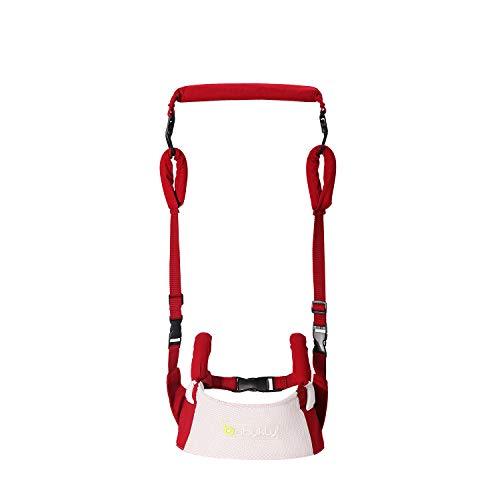 babykly ベビー歩行補助ベルト 発汗せずに涼しい 歩行練習 (8ヶ月〜2歳) 幼児歩行練習 用 学習歩行ベルト 通気性と快適性 調節可能 (red white)