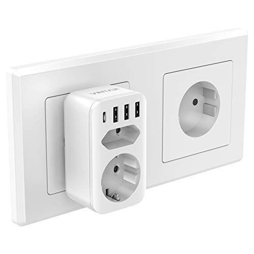 VINTAR USB Steckdose, Mehrfachstecker (4000W) mit 3 USB ladegerät (2.4A) und 1 Typ-C Port (3A),steckdose mit USB,6-in-1 Steckdosenadapter,Mehrfachsteckdose usb mit Kindersicherung