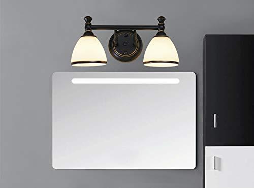LiQi Vintage Spiegelleuchte, Bad Spiegellampe LED Wandleuchte, Kreative Badezimmer Badlampe Glas Lampenschirm IP 44 LED-Strahlern für Spiegel Schrankleuchte Badspiegel Lampe,6000k,2 Heads 14w