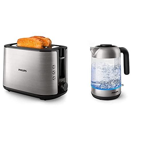 Philips HD2650/90 Toaster Edelstahl (950 W, 8 Bräunungsstufen, Brötchenaufsatz, Auftau- und Aufwärmfunktion) & HD9339/80 Glas Wasserkocher, 1,7 Liter (LED-Beleuchtung, 2200 W)