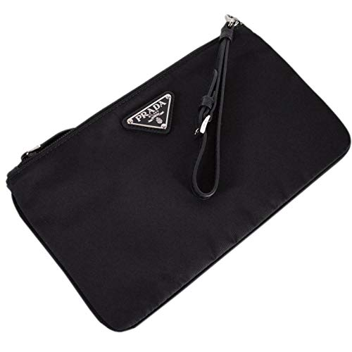 "Prada Black Tessuto Nylon Pouch Case Clutch w Silver Prada Logo 1NH545 Measurements: 10"" x 0.75"" x 6"" (lwh) in inches. Strap Drop: 6"" inches. Adjustable/ Removable Leather Strap. Silver-tone hardware. Prada black triangle logo. Includes authenticity ..."