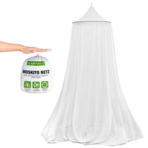 Silberkraft Premium Moskitonetz inklusive Klebehaken, XXL für Doppelbett, Betthimmel mit Reissverschluss als Moskitoschutz, Mückennetz für Reise und zu Hause, mit Tragebeutel