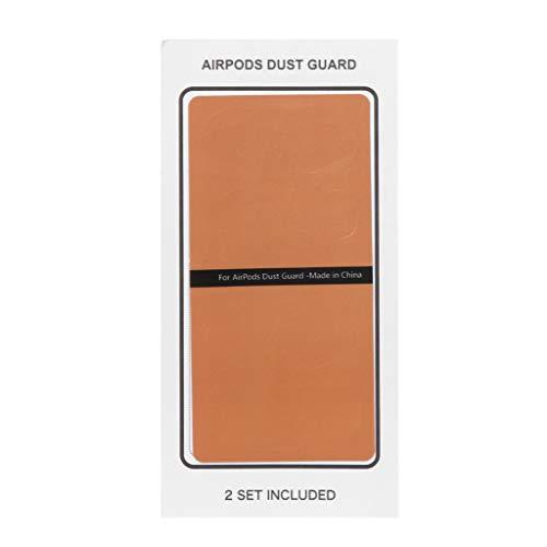 fuwahahah 2Pairs Stofbescherming Beschermende Sticker Oortelefoon Case Shell Huid Stofdicht Voor Apple Airpods Opladen Doos, ORANJE