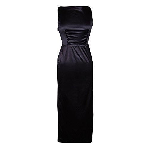 Utopiat Premium Satin Schwarz Kostüm Kleid Frauen inspiriert von Audrey Hepburn Stil (L)