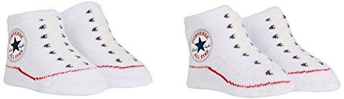 Converse Unisex Baby Socken 2 Pack Booties, Gr. 0-6 Monate , Weiß (White)
