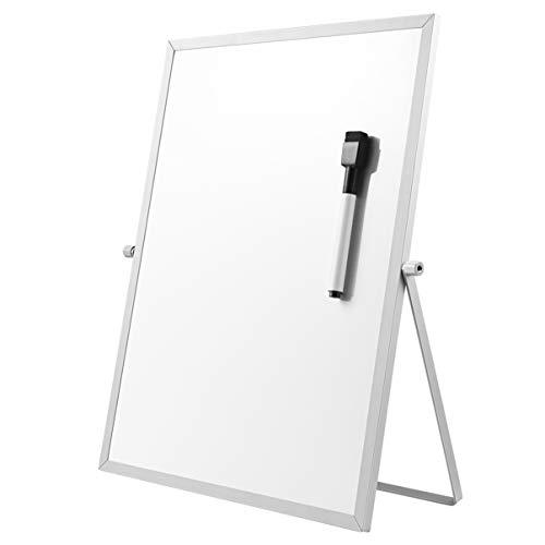 STOBOK Trockene Magnetische Kleines Whiteboard - 36cm x 26cm Tragbare doppelseitige weiße Board Desktop Ständer mit Marker, 360 Grad drehbare Halterung, tun für Kinder Zeichnung, Büro Schule zu Hause