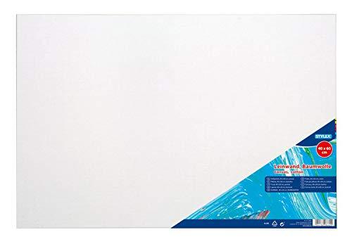 Stylex 28662 - Keilrahmen 40 x 60 cm, mit Leinwand aus 100 % Baumwollgewebe bespannt, grundiert, rückseitig geheftet, für Öl-, Acryl- und Temperafarben, Gouache - Malerei