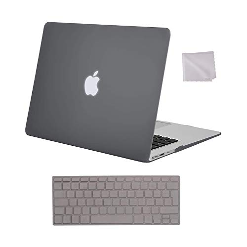 MOSISO MacBook Air 13 inch Case Older Version 2010-2017 Release A1369 A1466, Plastic Hard Shell Case & Keyboard Cover Skin & Wipe Cleaning Cloth Only Compatible with MacBook Air 13 inch, Gray