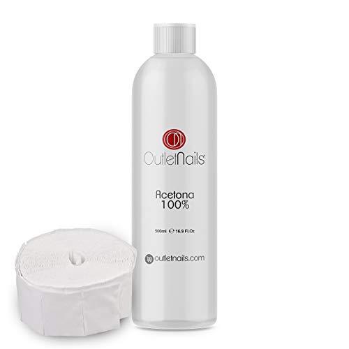 Acetona 100% Pura 500ml de alta calidad + 100 Celulosas | Ideal para retirar Esmaltes Permanentes | Made in Spain