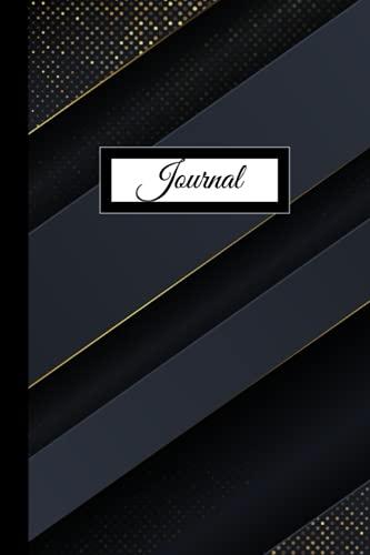 Dot Grid Journal Notebook: Dark Blue stripes with Gold Glitter