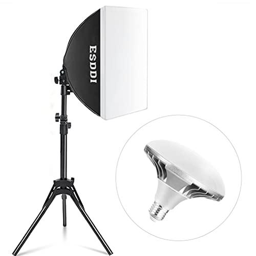 ESDDI Softbox LED Kit di illuminazione Attrezzatura Fotografia con 40 x 40 cm Riflettore e 450W 5400K E27 Socket LED Bulb per le riprese Studio di illuminazione e ritratto