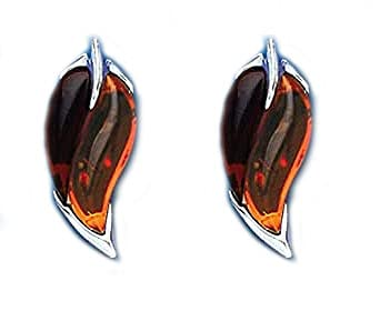 Sterling Silver Amber Earrings Leaf Design British Made Hallmarked