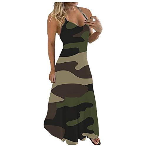 Handyulong Womens Summer Dresses Plus Size Casual Sundresses Sleeveless Camouflage Maxi Long Dress Sling Tank Dress