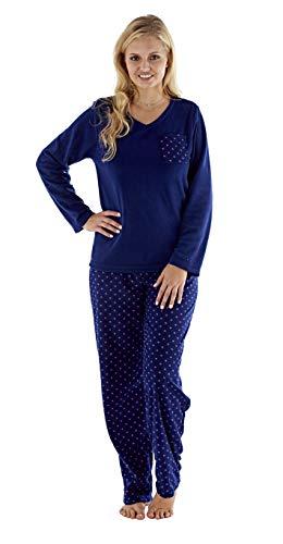 Selena Secrets Dames Fleece V-hals pyjama met gevlekte hart broek. Flamingo of marine. Maten 10/12-18/20.