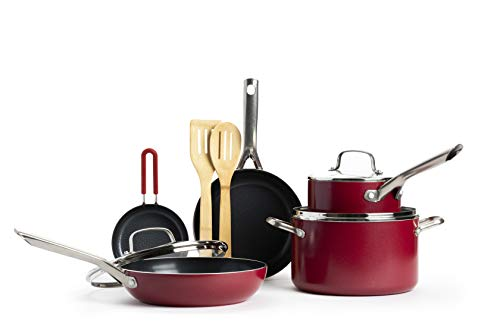 Red Volcano Textured Ceramic Nonstick Cookware Pots and Pans Set, 10 Piece