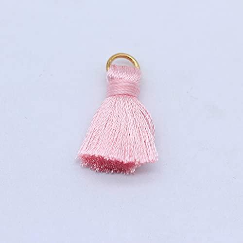 10 unids/lote 2 cm mini borlas de poliéster pequeñas borlas para joyería g suministros pulsera collar hallazgos y componentes materiales-R29 rosa rayón