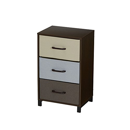 Household Essentials 8013-1 Wooden 3 Drawer Dresser   Storage Night Stand   Mahoganey