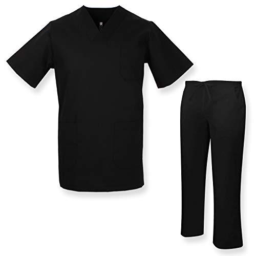 MISEMIYA - Unisex-Schrubb-Set - Medizinische Uniform mit Oberteil und Hose ref.817Q8 - Small, Schwarz