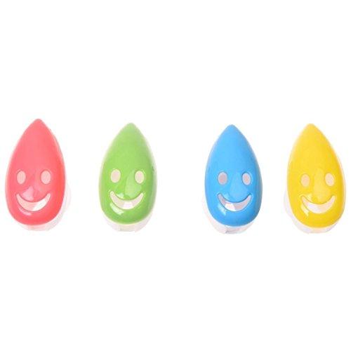 TOOGOO(R) 4 Stueck Laechelndes Gesicht Antibakterielle Zahnbuerste Abdeckung Halter mit Saugnapf Bad