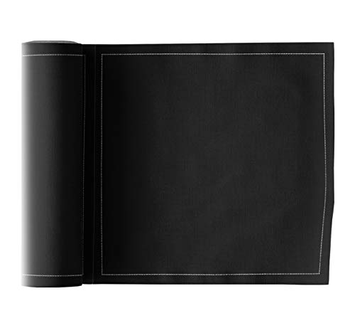 Serviette de table en coton 20x20cm - Idéale pour fête, anniversaire, cocktail - Rouleau de 25 serviettes - Noir