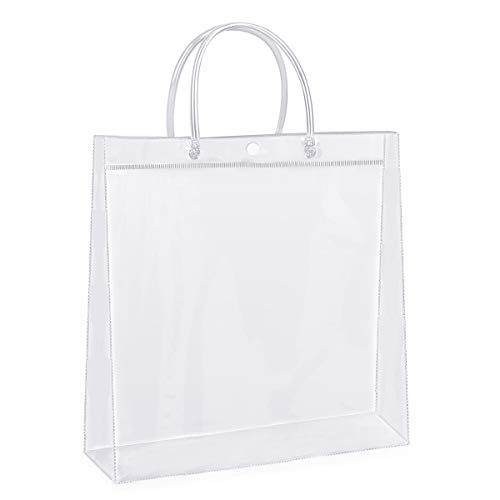 Sdootjewelry Clear Gift Bags with Handles, 36 Pack Heavy Duty Plastic Gift Bags Bulk, 11.8 x 3.9 x 11.8' Transparent PVC Shopping Tote Bags, Gift Wrap Bags
