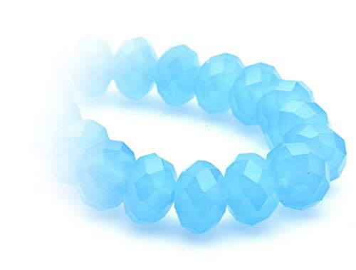 Sintetiche, radl, Rondell, 6X 8mm filo circa 70pezzi, di alta qualità, Legno cristallo perle fai da te di orecchini, bracciali, catena, gioielli, da Creare, Decorare, decorare, Vetro, 52 carib.blue opal