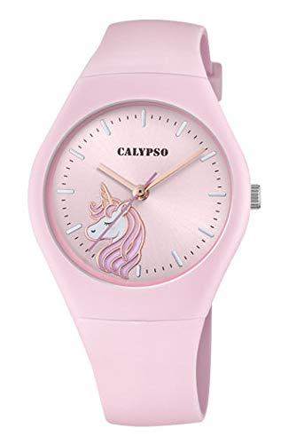 CALYPSO Reloj Modelo K5792/2 de la colección Sweet Time, Caja de 39 mm Correa de Caucho Rosa para señora