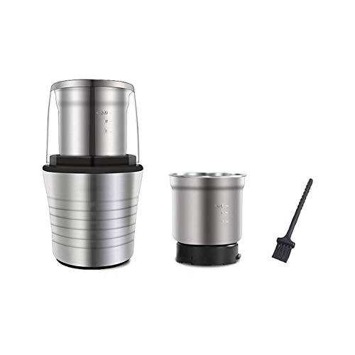 XTZJ Smerigliatrice per caffè elettrica, chicco di caffè e smerigliatrice spezia con tazza rimovibile di grande capacità di 2,8 oz, lama in acciaio inox e spazzola per la pulizia 2 in 1, 300W, nero