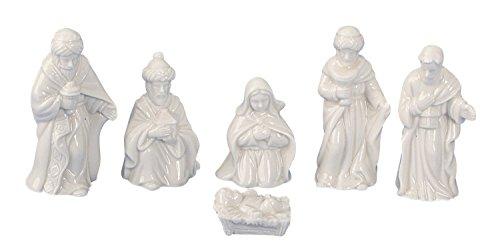 Geschenkestadl Krippenfiguren 6-teiliges Set Krippe Figuren in Weiss Größe bis 6 cm